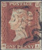 1841 1d Red SG8 Plate 24 'MA'